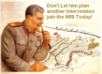 Zealandian propaganda poster displaying Sandus and its Sôgmô as Josef Stalin.