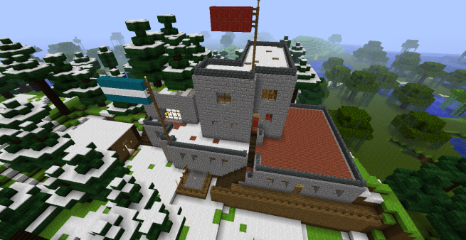 The current state of the capital region in the new Sandum Minecraft server, intended for cultural advancement.