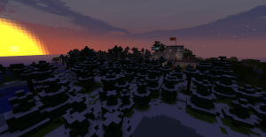 The capital region in Sandum Minecraft server occupies two mountains and a low-lying area. The city will expand around this biome.