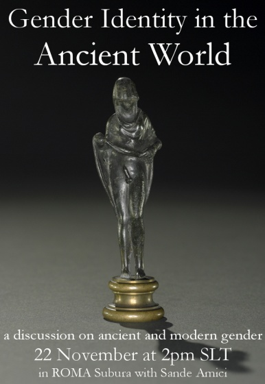 Poster used for this event, displaying a 2nd century bronze statuette of Hermaphroditus (British Museum).