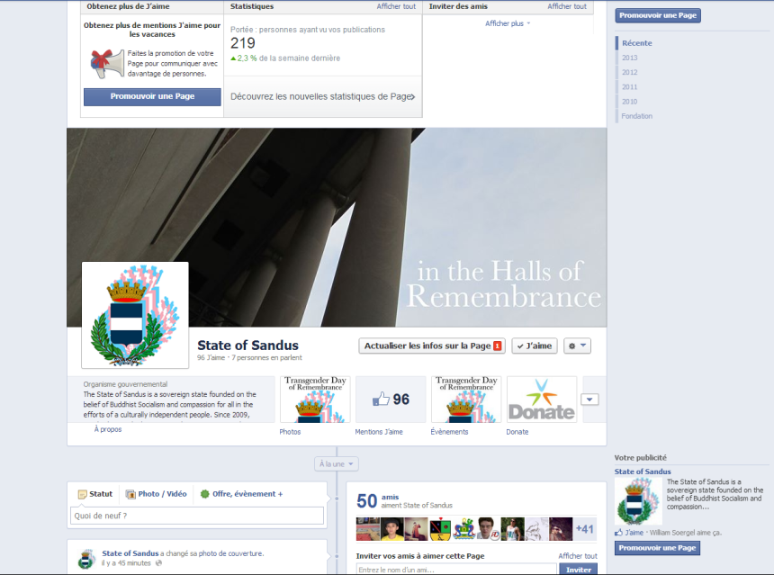 The State of Sandus Facebook page was decorated for Transgender Day of Remembrance.