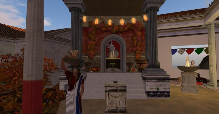 The Sôgmô was presided over both rituals done in the Palace of State and in Second Life, shown here carrying a kanoun -- an Ancient Athenian basket used in religious rites.