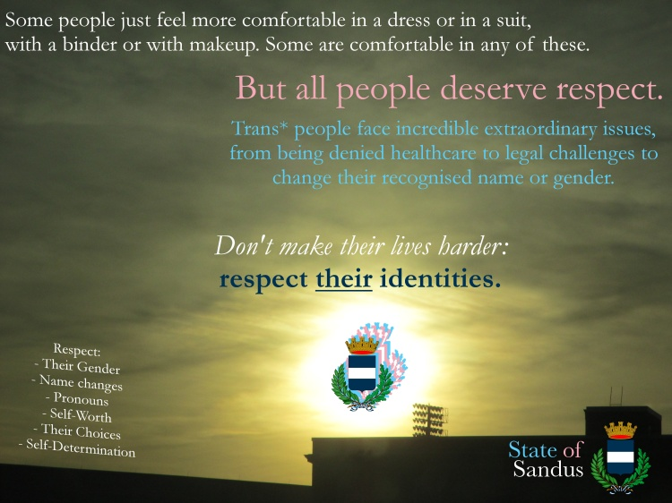 Poster released by the Office of the Sôgmô yesterday evening on the topic of transphobia in the intermicronational community.