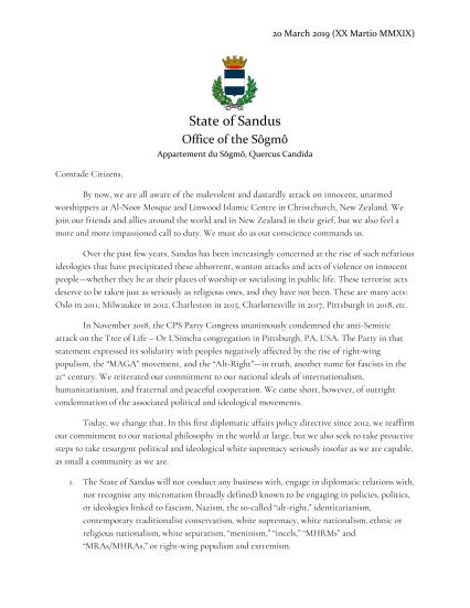 Policy regarding Fascist, Nazi, and White Supremacist States (20032019)-1